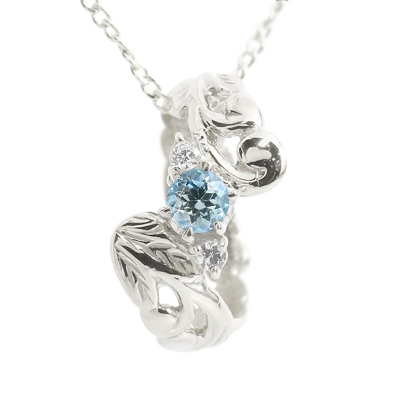 ハワイアンジュエリー ネックレス ブルートパーズ ダイヤモンド ベビーリング ホワイトゴールドk18 チェーン ネックレス レディース 18金 プレゼント 女性 母の日