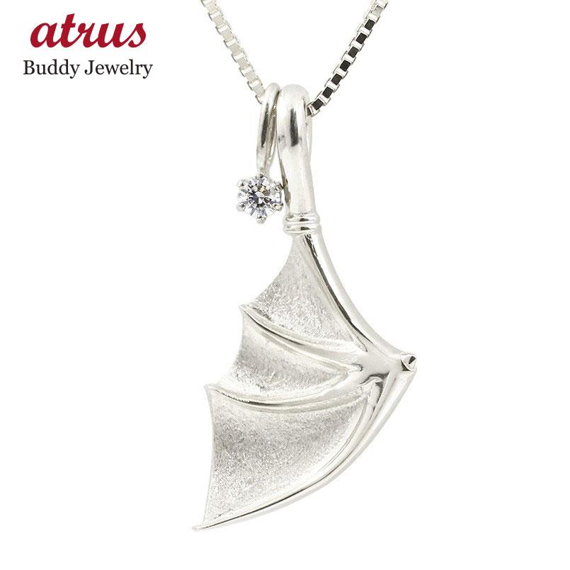 ネックレス メンズ ダイヤモンド シルバー925 コウモリ 羽根 ペンダント sv925 トレジャーハンター 男性用 羽 翼 蝙蝠 ホーニング加工 つや消し