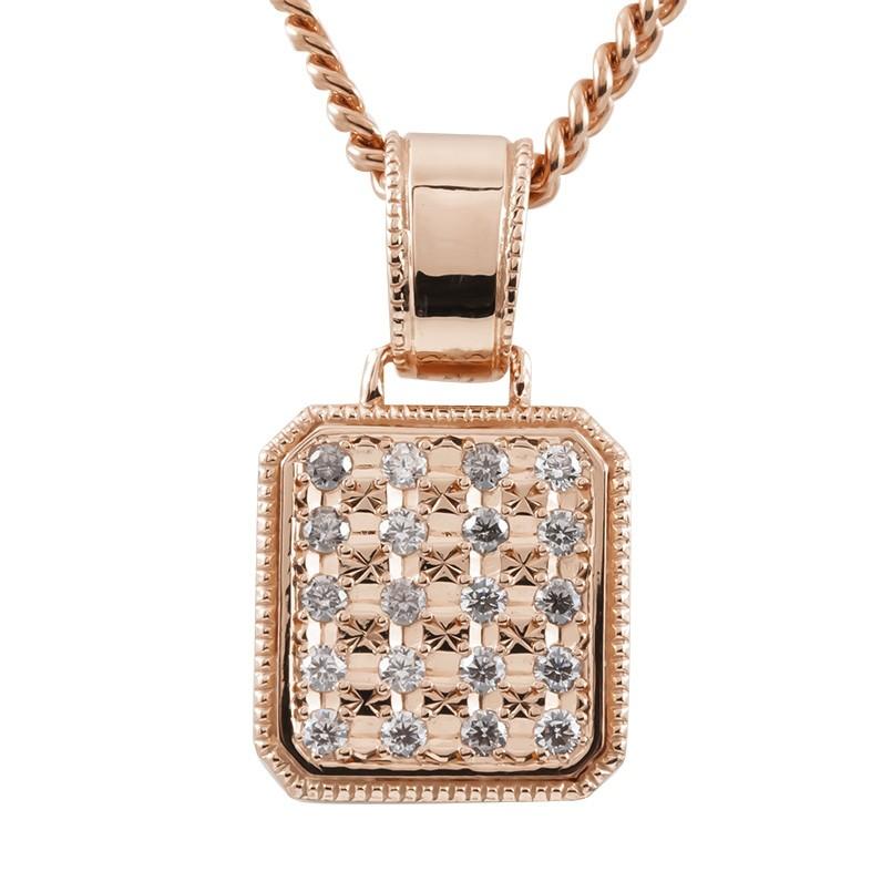 お歳暮 1つは持っていたいシンプルメンズペンダント ネックレス メンズ 喜平用 ダイヤモンド ピンクゴールドK10 ペンダント トップ キヘイ 0.5ct ダイヤ の 10金 シンプル 送料無料 ミル打ち 大好評です 男性用