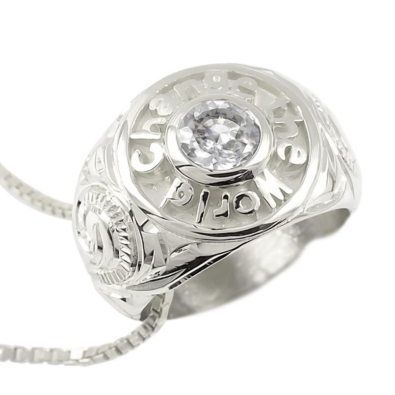 プラチナ ネックレス メンズ ダイヤモンド 一粒 大粒 ベビーリング ハワイアンジュエリー リングネックレス カレッジリング風 ペンダント pt900 男性 送料無料 父の日