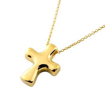 ネックレス メンズ クロス ネックレス イエローゴールドk18 ペンダント 十字架 シンプル 地金 チェーン 人気 18金 送料無料 父の日