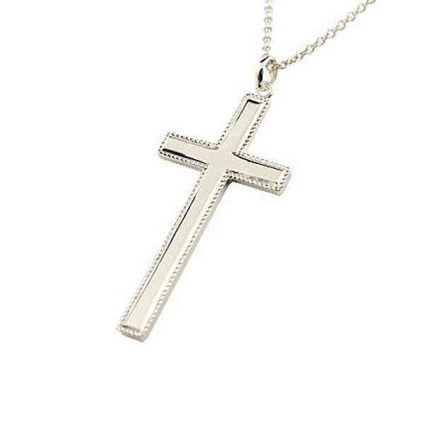 ネックレス メンズ クロス ネックレス ホワイトゴールドk18 ペンダント 十字架 シンプル 地金 チェーン 人気 ミル打ち 18金 送料無料 父の日