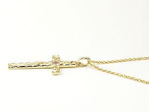 ハワイアンジュエリー ネックレス メンズ クロス ネックレス ピンクトルマリン イエローゴールドk18 ペンダント 十字架 チェーン 人気 10月誕生石 18金 宝石fvI67ygYb