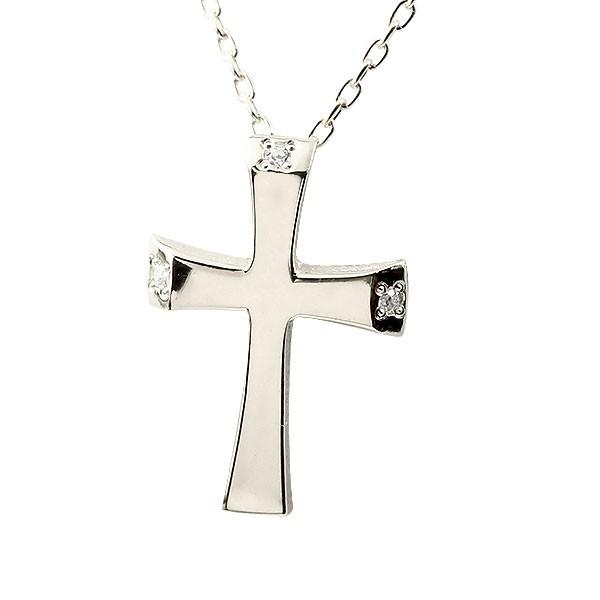ネックレス メンズ クロス ダイヤモンド ホワイトゴールドK10 ペンダント 十字架 シンプル ダイヤ 10金 男性用 光 人気 送料無料 父の日