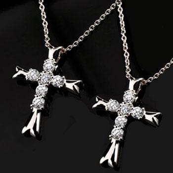 ネックレス メンズ ペアネックレス ペアペンダント プラチナ クロス ダイヤモンド ネックレス ペンダント 十字架 ダイヤ ダイヤ カップル 男性用 父の日