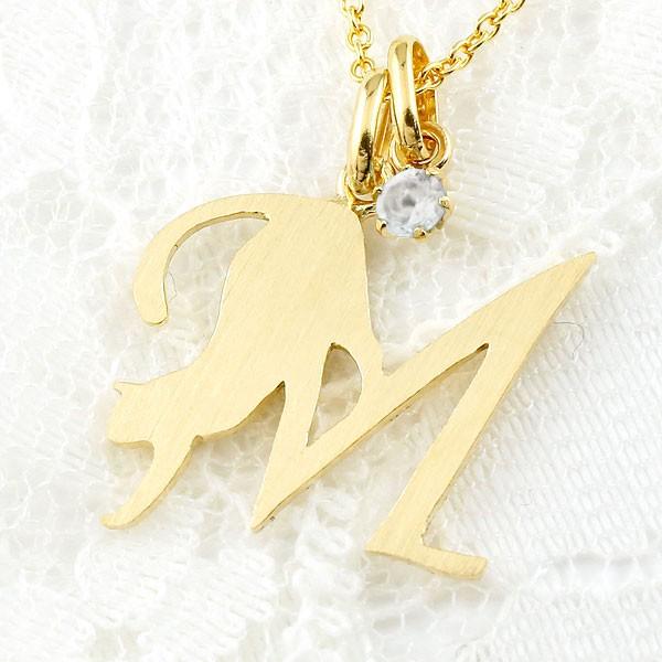 メンズ イニシャル ネーム M 猫 ネックレス トップ ブルームーンストーン イエローゴールドk18 ペンダント アルファベット ネコ ねこ 18金 チェーン 人気