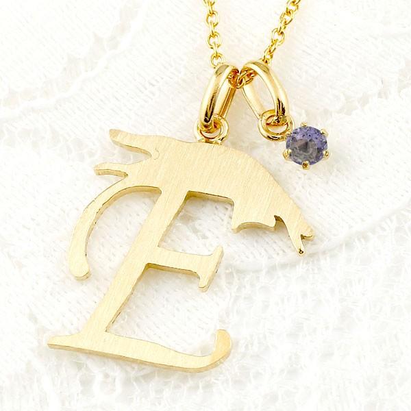 メンズ イニシャル ネーム E 猫 ネックレス トップ アイオライト イエローゴールドk18 アルファベット ネコ ねこ ヘアライン仕上げ 18金 チェーン 人気