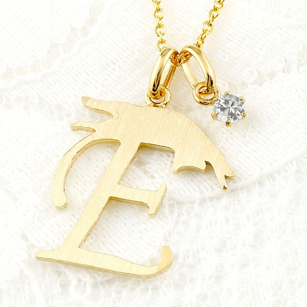 メンズ イニシャル ネーム E 猫 ネックレス トップ ダイヤモンド イエローゴールドk10 アルファベット ネコ ねこ ヘアライン仕上げ 10金 チェーン 人気