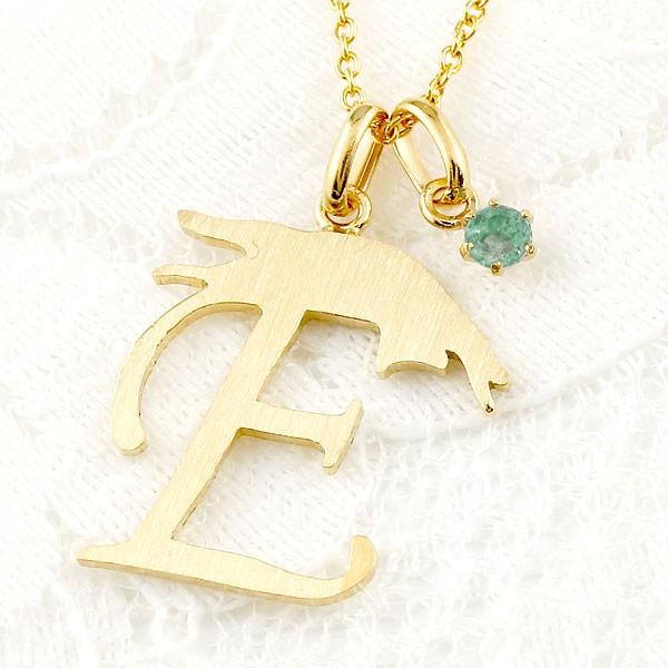メンズ イニシャル ネーム E 猫 ネックレス トップ エメラルド イエローゴールドk18 ペンダント アルファベット ネコ ねこ ヘアライン仕上げ 18金 チェーン 人気
