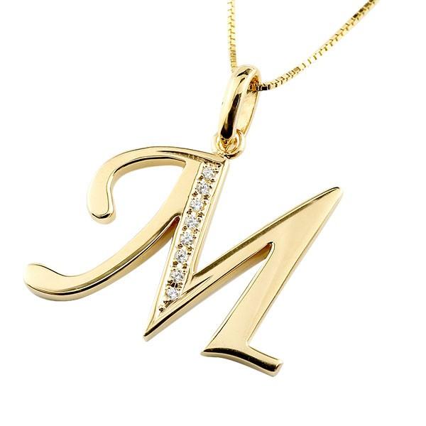 イニシャル ネーム メンズ M ネックレス トップ ダイヤモンド イエローゴールドk10 ペンダント アルファベット チェーン 人気 男性 10金 ダイヤ 送料無料