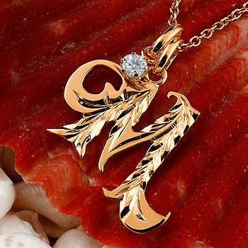 ハワイアンジュエリー イニシャル ネーム メンズ M ネックレス トップ ダイヤモンド ピンクゴールドk10 アルファベット チェーン 10金 ダイヤ 送料無料
