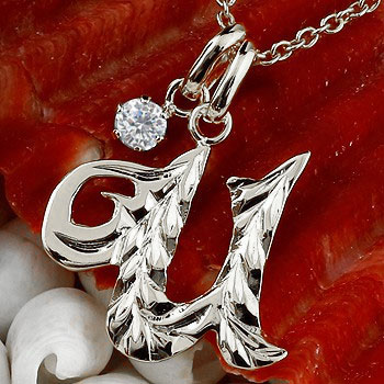 ハワイアンジュエリー イニシャル ネーム メンズ U ネックレス トップ ダイヤモンド 一粒 ホワイトゴールドk10 ペンダント アルファベット チェーン 10金 ダイヤ