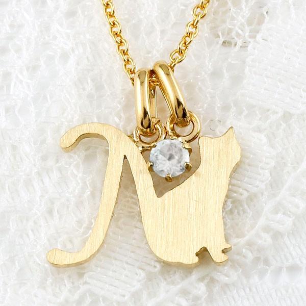 メンズ イニシャル ネーム アルファベット 名前 N 猫 ネックレス トップ ブルームーンストーン イエローゴールドk18 ペンダント ネコ ねこ 18金 チェーン 人気