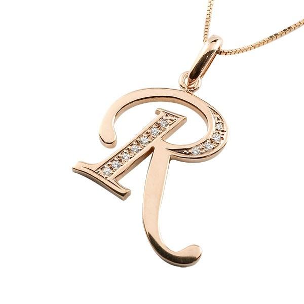 イニシャル ネーム メンズ R ネックレス トップ ダイヤモンド ピンクゴールドk10 ペンダント アルファベット チェーン 人気 男性 10金 ダイヤ 送料無料