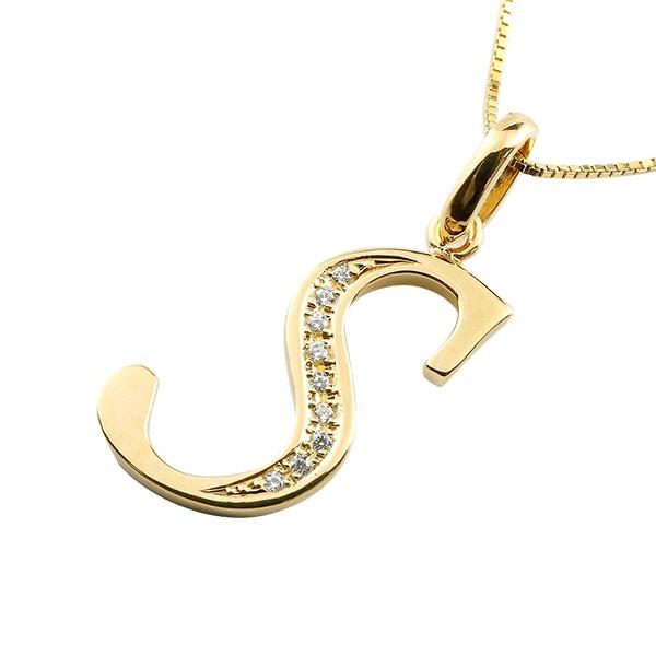 イニシャル ネーム メンズ S ネックレス トップ ダイヤモンド イエローゴールドk10 ペンダント アルファベット チェーン 人気 男性 10金 ダイヤ 送料無料