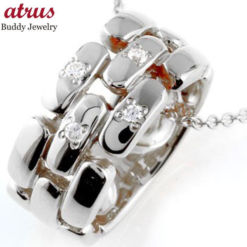メンズ ダイヤモンド ネックレス ペンダント ダイヤ リングネックレス ホワイトゴールドk18 18金人気 ストレート 男性用 18k 送料無料fbY6y7g