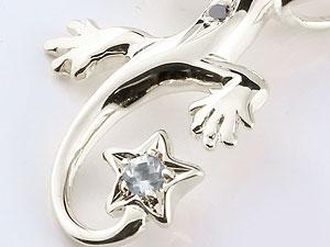 メンズ トカゲ ネックレス アクアマリン ブラックダイヤモンド プラチナ ペンダント 星 3月誕生石ダイヤ 男性用 宝石 送料無料MGUzVqSp