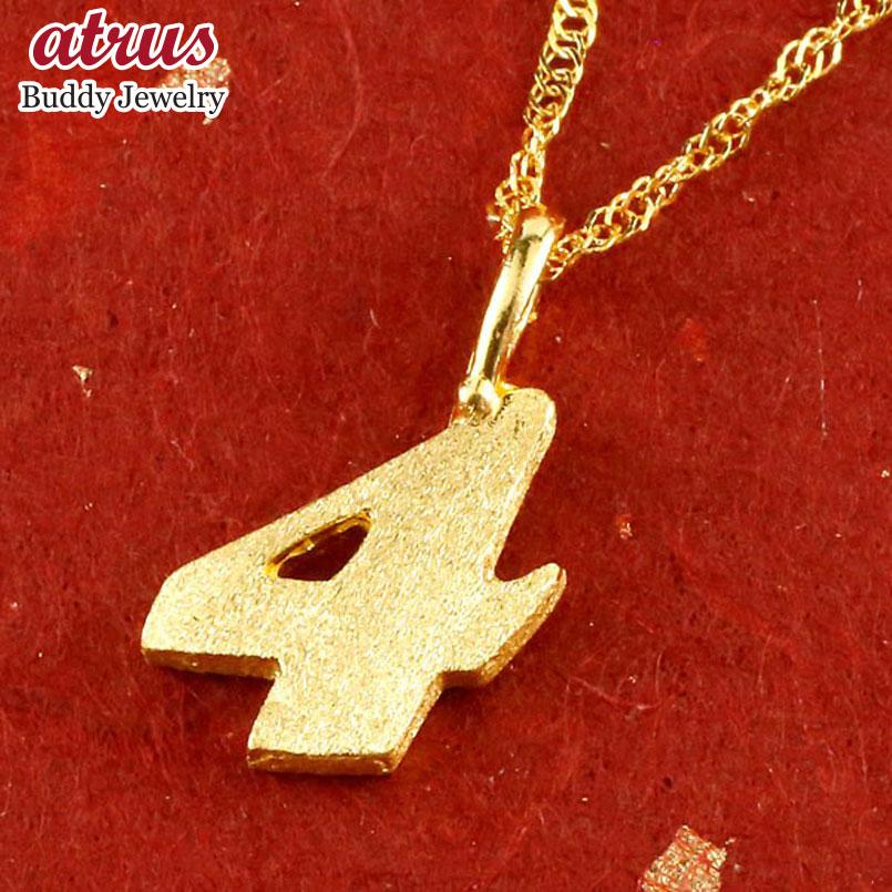 純金 メンズ 24金 ゴールド 24K 数字 4 ペンダント ネックレス 24金 ゴールド k24 ナンバー