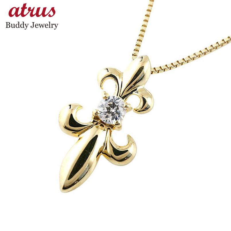 メンズ ダイヤモンド ペンダントイエローゴールドK18 ダイヤ ネックレス トップ 百合 ユリの紋章 18金 チェーン 人気 フルール・ド・リス