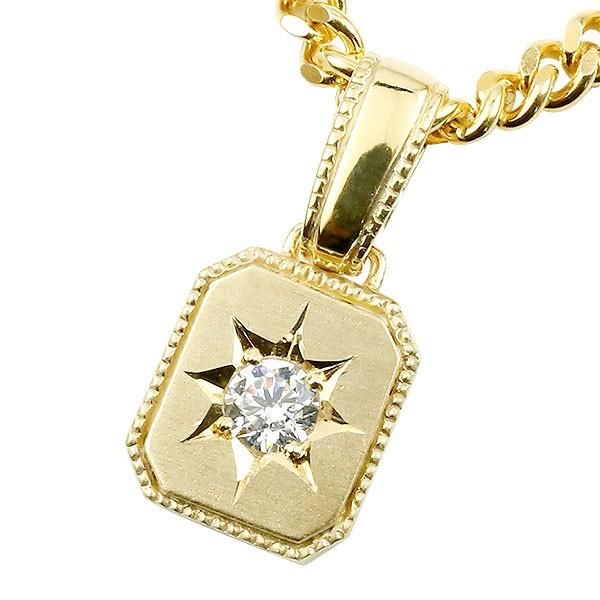 ネックレス メンズ 喜平用 キヘイ メンズ ダイヤモンド ネックレス 一粒 イエローゴールドk10 ダイヤ ペンダント 10金 チェーン 人気 ホーニング つや消し加工