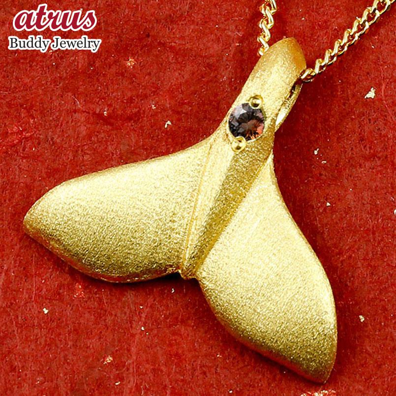 純金 メンズ ハワイアンジュエリー ホエールテール クジラ 鯨 ガーネット ネックレス トップ ゴールド ペンダント 天然石 1月誕生石 k24 24金 人気 宝石 エンゲージリングのお返し