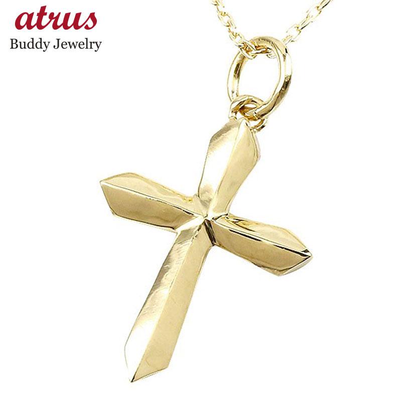新作 メンズ ネックレス クロス イエローゴールドK10 ペンダント 十字架 シンプル 10金 男性用 地金 大地 人気 エンゲージリングのお返し 父の日