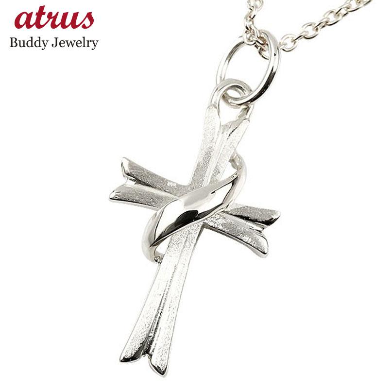 メンズ ネックレス クロス ホワイトゴールドK10 ペンダント 十字架 シンプル 10金 男性用 地金 宙 つや消し 人気 父の日