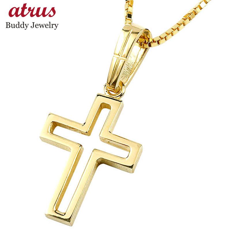 メンズ クロス ネックレス イエローゴールドk10 ペンダント 一粒 10金 チェーン 十字架 人気 透かし つや消し マット仕上げ エンゲージリングのお返し