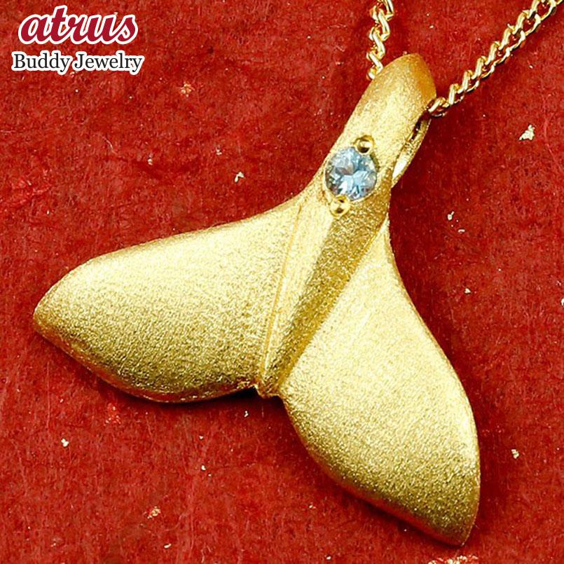 純金 メンズ ハワイアンジュエリー ホエールテール クジラ 鯨 ブルートパーズ ネックレス トップ ゴールド ペンダント 天然石 11月誕生石 k24 24金 人気 宝石