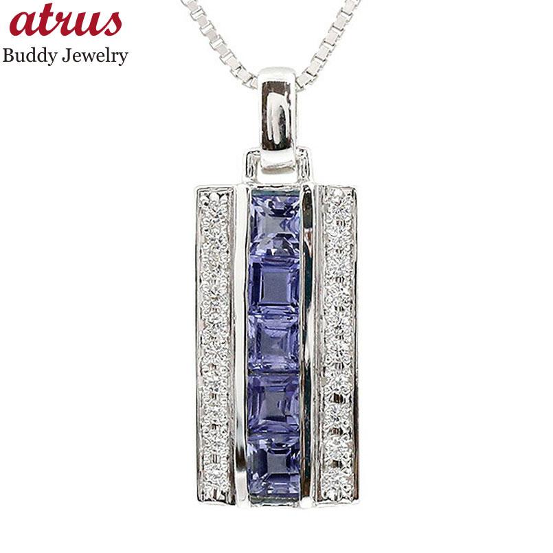 メンズ ネックレス シルバー925 ダイヤモンド アイオライト バーネックレス ペンダント sv925 チェーン 男性用 人気 父の日