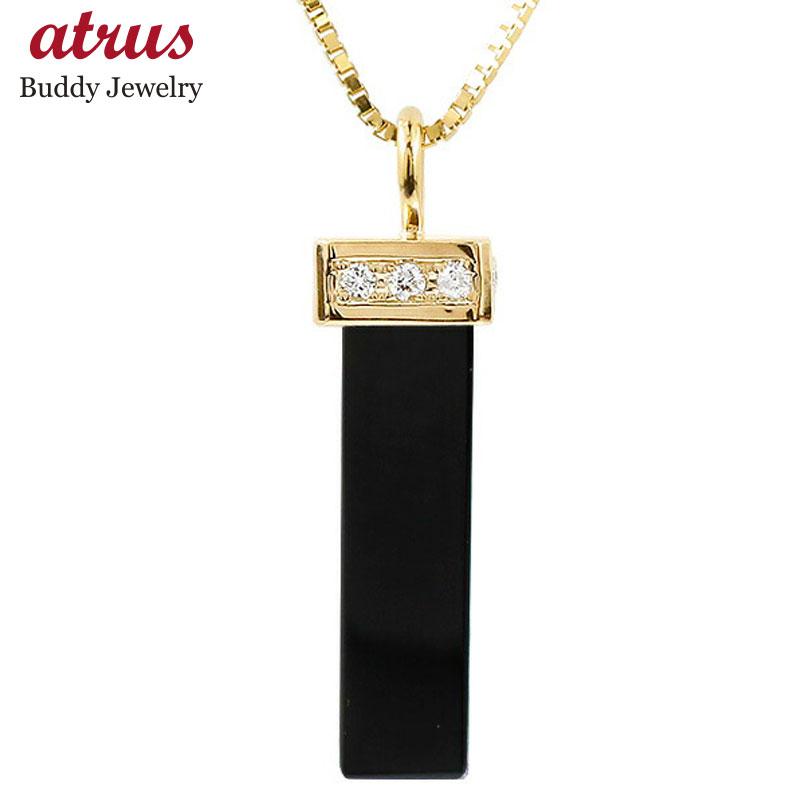 メンズ ネックレス イエローゴールドk10 オニキス キュービックジルコニア バーネックレス ペンダント 10金 チェーン 男性用 人気 宝石