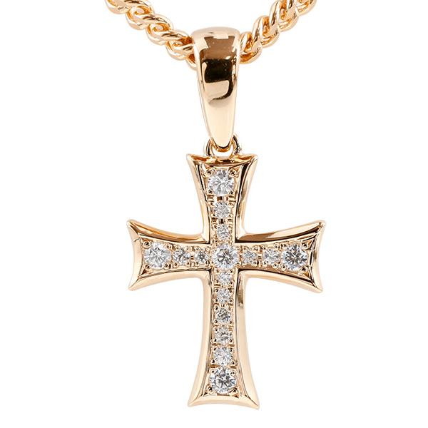 喜平用 メンズ ネックレス クロス キュービックジルコニア ピンクゴールドk10 ペンダント 十字架 10金 シンプル 男性用 キヘイチェーン 人気 父の日