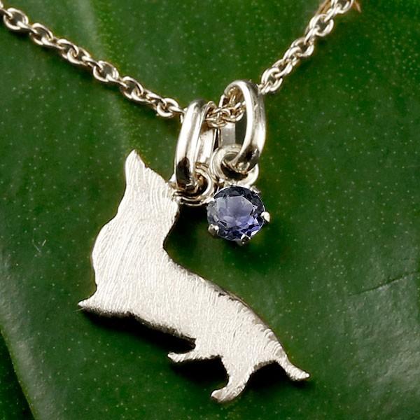 宝石 人気 ペンダント ネックレス の アイオライト トップ いぬ 犬 ホワイトゴールドk18 犬モチーフ イヌ ダックス 18金 送料無料 ダックスフンド 一粒 メンズ 18k チェーン