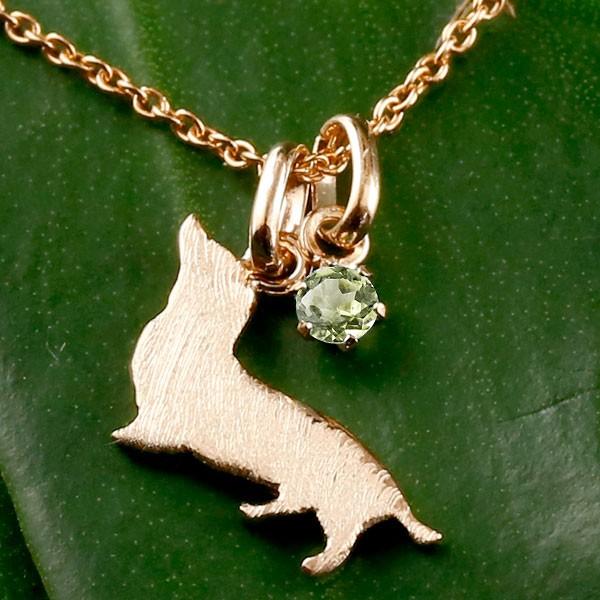 メンズ 犬 ネックレス ペリドット 一粒 ペンダント ダックス ダックスフンド ピンクゴールドk10 10金 いぬ イヌ 犬モチーフ 8月誕生石 チェーン 人気 宝石 父の日