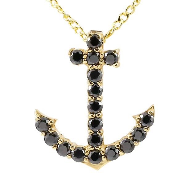 ネックレス メンズ ブラックダイヤモンド イエローゴールドk18 イカリ アンカー ペンダント 18金 チェーン マリン系 ブラックダイヤ 送料無料