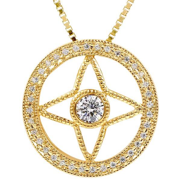 太陽の光として恵みをもたらす メンズネックレス 【10%OFF】メンズ ネックレス ダイヤモンド イエローゴールドk18 四芒星形 ミル打ち ペンダント 18金 チェーン 男性用 人気 宝石 ダイヤ コントラッド 東京