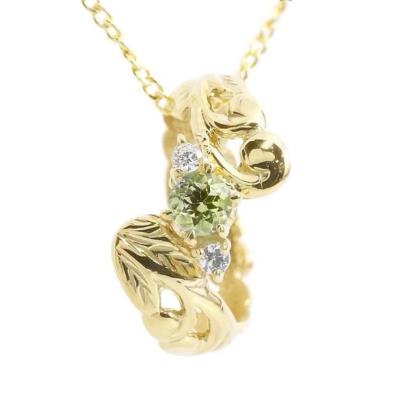 ハワイアンジュエリー ネックレス メンズ ペリドット ダイヤモンド ベビーリング イエローゴールドk10 チェーン ネックレス 男性用 10金 プレゼント 父の日