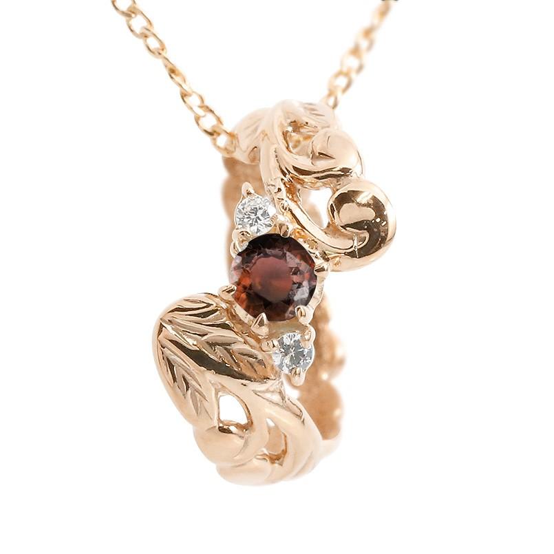 ハワイアンジュエリー ネックレス メンズ ガーネット ダイヤモンド ベビーリング ピンクゴールドk10 チェーン ネックレス 男性用 10金 プレゼント 父の日