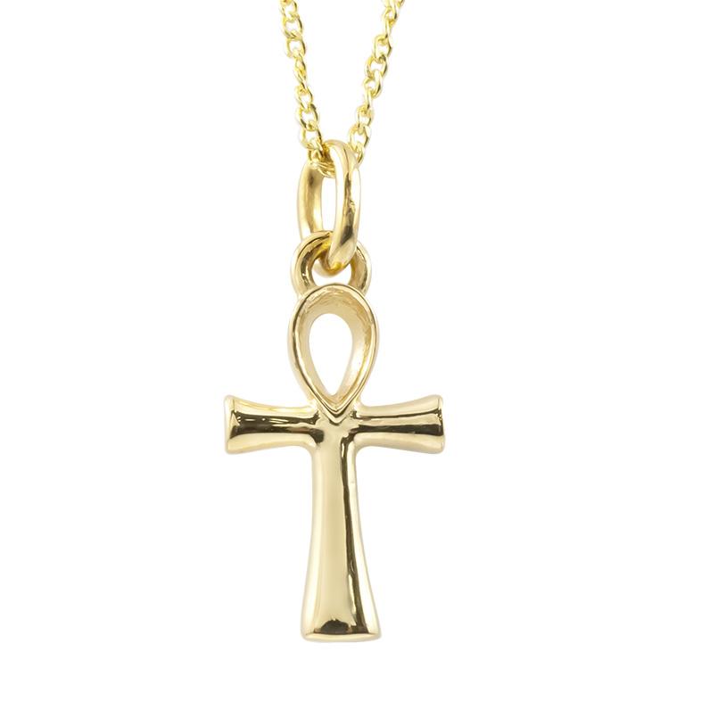 ネックレス イエローゴールドk18 アンク クロス ペンダント 18金 アズキチェーン レディース 地金 エジプト 十字架 女性 シンプル トレジャーハンター 送料無料 母の日
