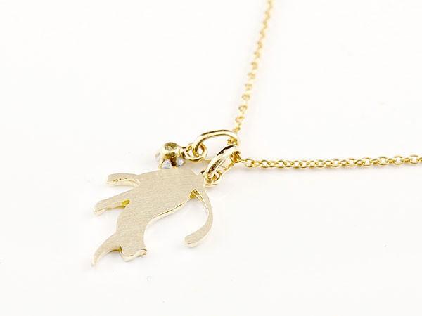 メンズ 猫 ネックレス スワロフスキーキュービックジルコニア 一粒 ペンダント イエローゴールドk10 ネコ ねこ 10金 メンズ チェーン 人気 男性用シンプル 父の日eHW2DYE9I