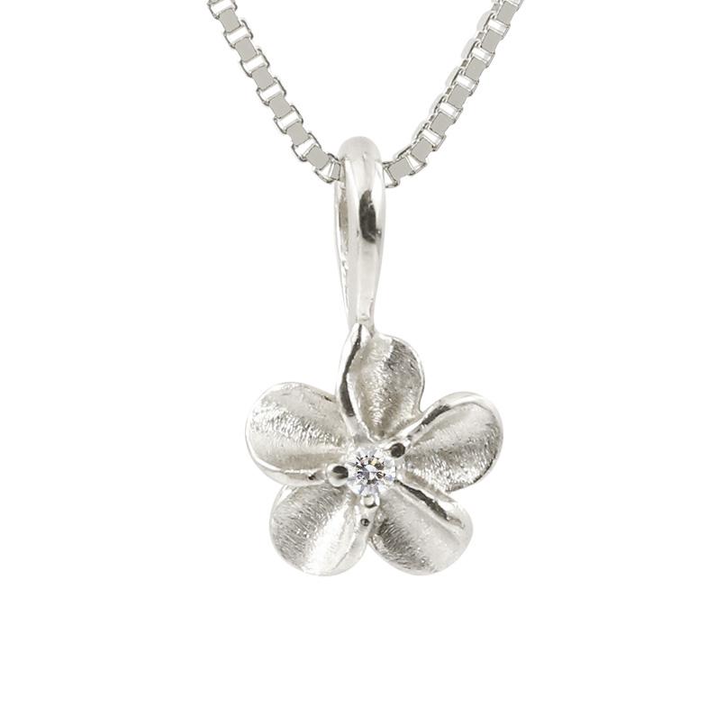 ハワイアンジュエリー メンズ プラチナネックレス ダイヤモンド プルメリア チェーン ペンダント pt900 花 フラワー 4月誕生石 送料無料 父の日