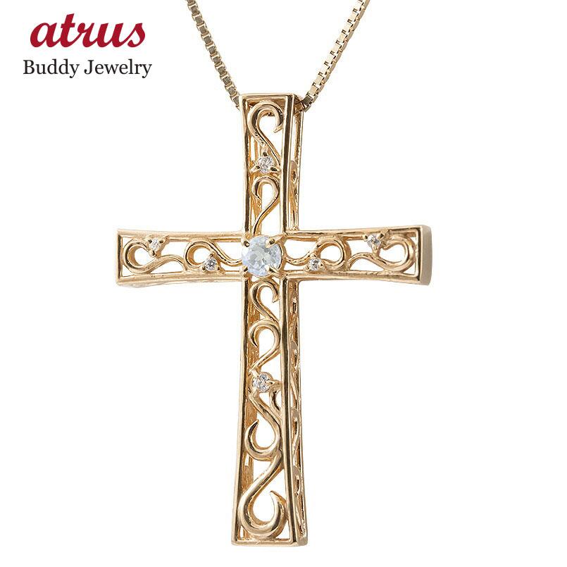ネックレス メンズ ブルームーンストーン ダイヤモンド ピンクゴールドk18 クロス ペンダント 18金 人気 チェーン 男性用 十字架 透かし 送料無料 父の日