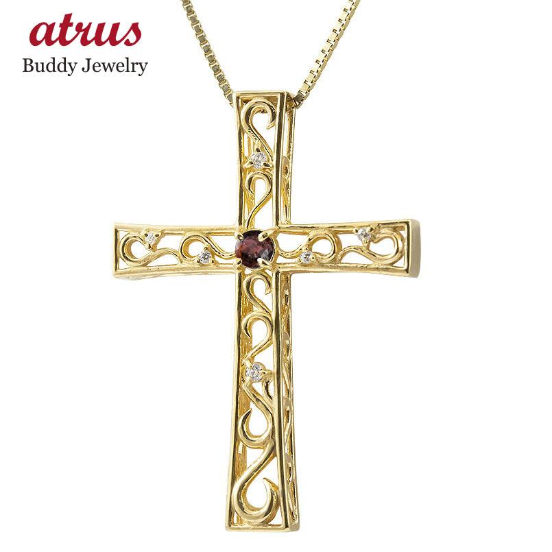 ネックレス メンズ ガーネット ダイヤモンド イエローゴールドk18 クロス ペンダント 18金 人気 チェーン 男性用 十字架 透かし 送料無料 父の日