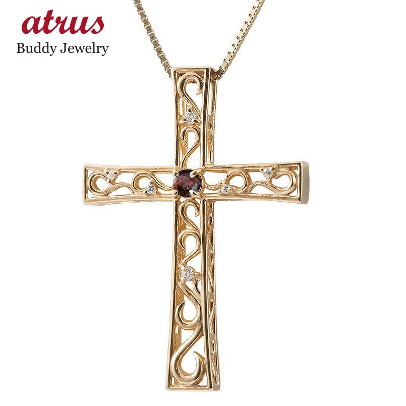 ネックレス メンズ ガーネット ダイヤモンド ピンクゴールドk18 クロス ペンダント 18金 人気 チェーン 男性用 十字架 透かし 送料無料 父の日