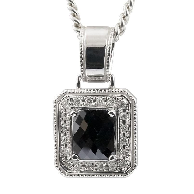 ネックレス メンズ プラチナ 喜平用 ブラックダイヤモンド ダイヤモンド ペンダント pt900 ダイヤ 男性用 キヘイチェーン シンプル ミル打ち 送料無料 父の日