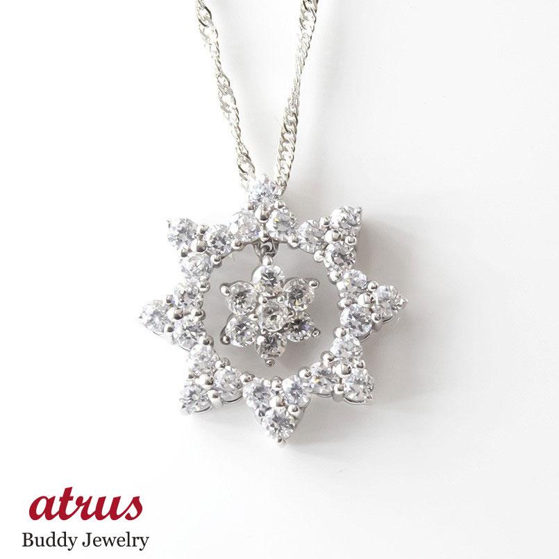 プラチナ ネックレス トップ ダイヤモンド フラワー レディース pt900 ペンダント ダイヤ 花 太陽 女性 大人 送料無料