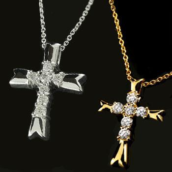 ペアネックレス ペアペンダント クロス プラチナ ダイヤモンド ネックレス ペンダント イエローゴールドk18 十字架 ダイヤ ダイヤ 18金 カップル 18k 送料無料