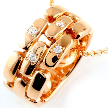 メンズ ダイヤモンド ネックレス ペンダント ダイヤ リングネックレス ピンクゴールドk18 18金人気 ストレート 男性用 送料無料