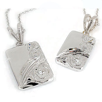 ハワイアンジュエリー ペアネックレス ペンダント ダイヤモンド ホワイトゴールドk18 チェーン 人気 ダイヤ 18金 カップル 男性用 送料無料 父の日