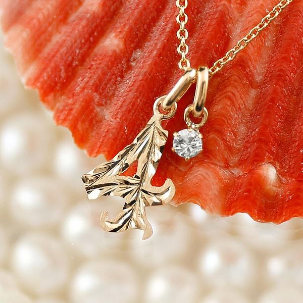 ハワイアンジュエリー メンズ 数字 4 ダイヤモンド ネックレス ペンダント ピンクゴールドk18 ナンバー チェーン 人気 4月誕生石 18金 送料無料